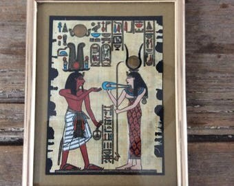 Vintage Papyrus Hand Painted Picture / Framed / Egypt