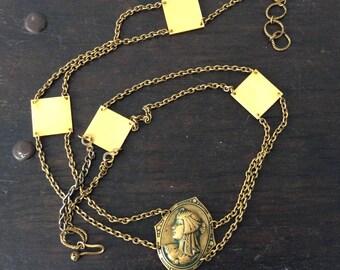 Antique Art Deco Flapper belt /Necklace / Celluloid / Brass / Goddess / Pendant / Art Nouveau