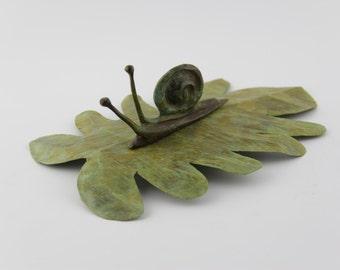 Snail on leaf Bronze Scuplture