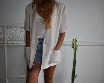 Oversized cream cotton open blouse