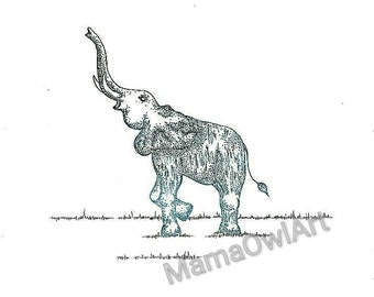 Pencil And Ink Sketch Elephant Illustration Print.