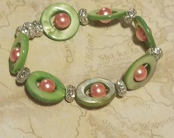 Green and Pink, retro feel bracelet