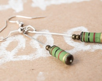Earrings green resistor