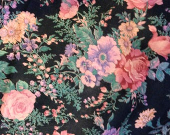 Flower print, black background cotton calico for quilting, 2 yards and 5 inches