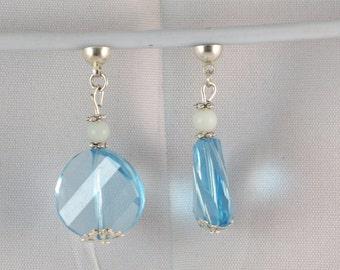 Swarovski Aquamarine blue Swarovski bead earrings, removable earrings,® MoovClipEar women