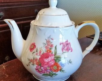 Vintage China Teapot with Pink Flowers
