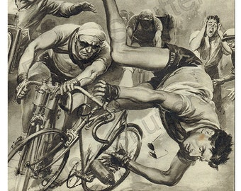 Fausto Coppi Tumble 1950. Digital Instant Download 300 dpi High Resolution jpg Image. Ready to Print 2 sizes