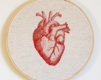Anatomical Heart Cross Stitch Pattern