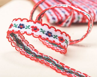 High-quality 1.2cm floral embroidery ribbon - Pure cotton - 1 yard