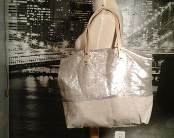 "Beige linen and silver lame linen tote bag worn hand and shoulder ""the Sun and the Moon"""