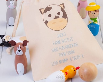 Children's Wooden Farm Animal Skittles Personalised Bag