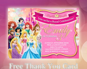 Personalised Disney Princess Birthday Invitations Princesses Party Snow White Cinderella Belle Beauty Beast Ariel Jasmine Aurora - DP02