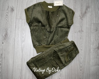 Vintage Girls 2-Piece Outfit - Age 12,Green Corduroy,Trouser Suit,Never used,Olive Green rich soft Corduroy, Sleeveless,90s,70s,by Lamdaw