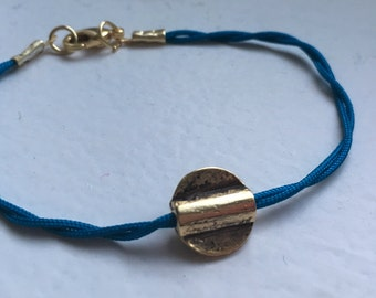 Blue spiral bracelet with Golden Pendant