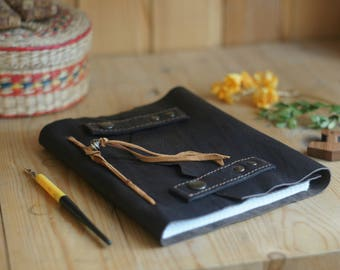 Brutal Leather notebook for men or woman / vintage journal  brown Sketchbook retro diary  notepad