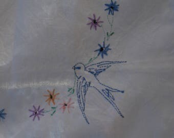 Embroidered Blue Bird and Flower Table Topper