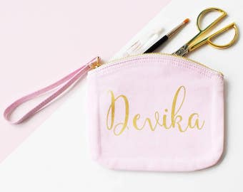 Personalised Canvas Pouch, Canvas Clutch Make up bag