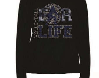 Rhinestone Volleyball For Life T Shirt                                                                                       LR EK6Q