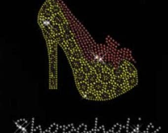Rhinestone Shopaholic High Heels  Lightweight T-Shirt  OR T Shirt Transfer                        WP26