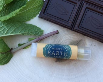 Natural Lip Balm, Chocolate Mint Lip Balm, Healing + Nourishing Blend, Clear or Shimmer Tint
