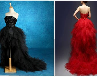 Strapless, BLACK or RED Wedding Gown, High Low w/ Train - Perfect for  Gothic Weddings, Pageants, Proms & Masquerade Balls Tull and Crystals