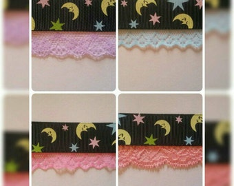 Moon and Star Choker, choice of different colour Lace available