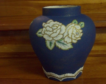 Blue Vase with flowers lace