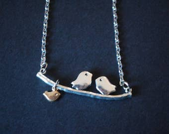 Love birds on a branch with baby bird necklace