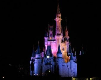 Disney Castle, Lights, Night, Cinderella's Castle, Disney World PRint, Canvas, Print