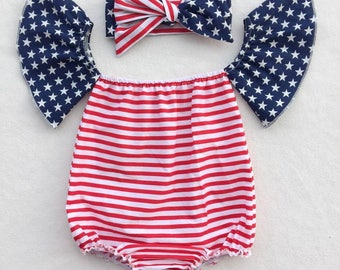 Fourth of July, baby girl romper, off the shoulder