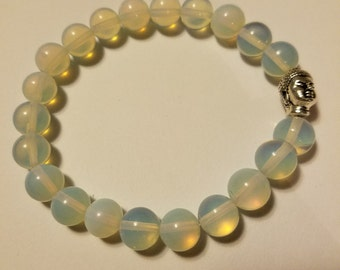 Opal Beaded Bracelet with Buddha Charm
