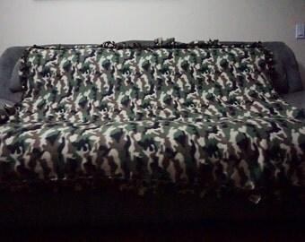Military Camo Fleece Tie Blanket