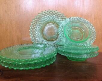 8 Vintage Green Diamond Cut Depression Glass Plates and Bowls
