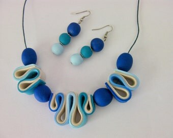 Blue and White Necklace and Earring Set