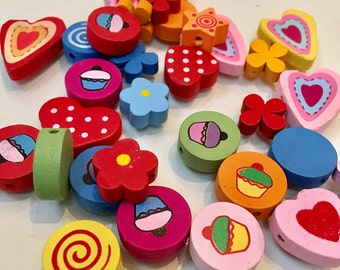 Brightly coloured wooden beads 25g approx