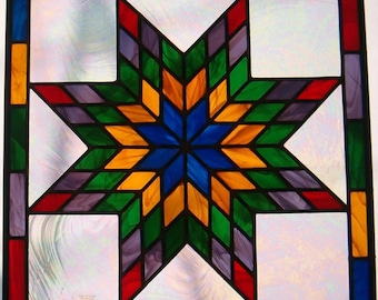 Texas Star Quilt Stained Glass