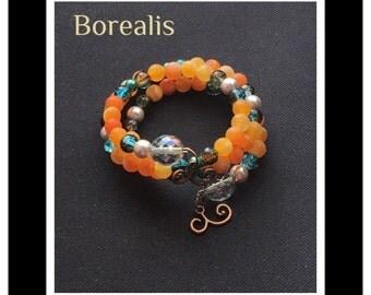 Orange Agate Bracelet Memory Wire Harmonic Spiral Spring