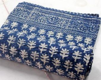Hand made kantha quilt vintage twin size throw hand stitched indigo blue Samll butti print kantha bedcover