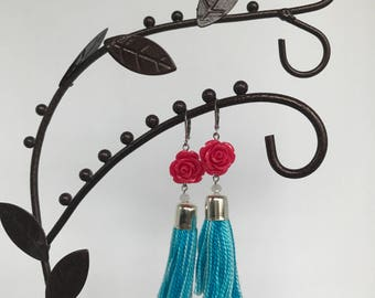 Magenta Rose tassel earrings