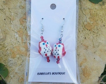 Red Owl Earrings