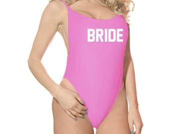 Bride Swimsuit One Piece High Cut Swimsuit Bride Bathing Suit Bach Swimwear Bachelorette Beachwear Bride Beachwear Pink Swimwear