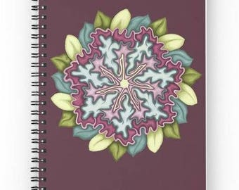 Colorful notebook decorated with a printed painting, mandala flower Eggplant Purple background pattern - accessory - notebook notes - bullet journal