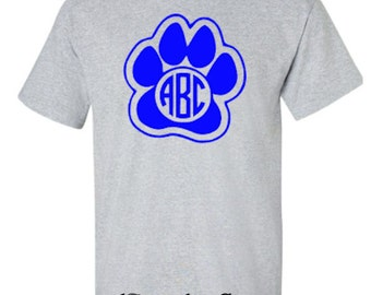 Personalized University of Kentucky Wildcats Paw Monogram Tshirt with Circle font