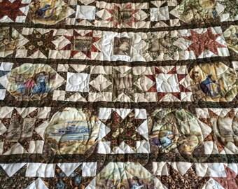 Mark Twain Star Quilt, Homemade Quilt, Patchwork Quilt, Wall Quilt, Sofa Quilt, Lap Quilt