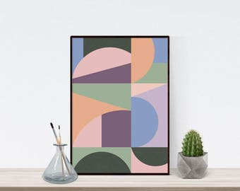 Mid century modern art print, geometric art print, geometric artwork, minimalist art, scandinavian art print, geometric, printable wall art