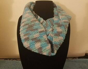 Aqua Blue Gray infinity scarf