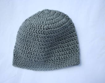 gray crochet winter hat