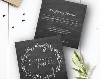 Chalk Board Wreath Wedding Invite