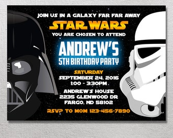 Star Wars Invitation, Star Wars Birthday Invites, Star Wars Party Invite, Darth Vader Card Printables, Stormtrooper Printable Invitations