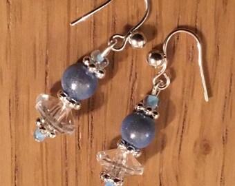 Pale blue bead earrings